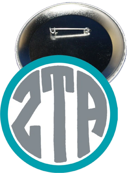 Zeta Tau Alpha Monogram Blue Button