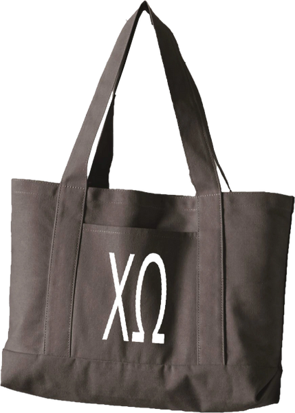 Chi Omega Letters Canvas Tote Bag