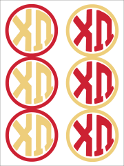 Chi Omega Monogram Sticker Sheet
