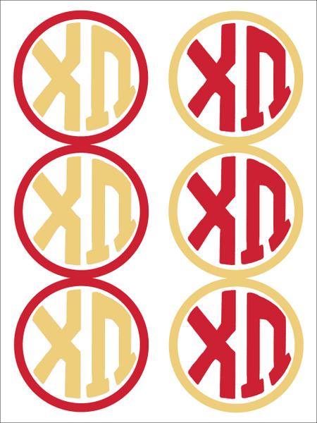 Chi Omega Monogram Sticker Sheet