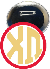Chi Omega Monogram Red Button