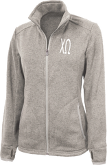Chi Omega Letters Heathered Fleece Jacket