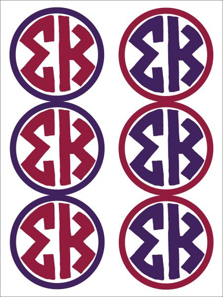 Sigma Kappa Monogram Sticker Sheet