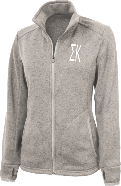 Sigma Kappa Letters Heathered Fleece Jacket