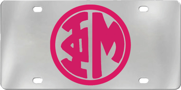 Phi Mu Aluminum Monogram License Plate