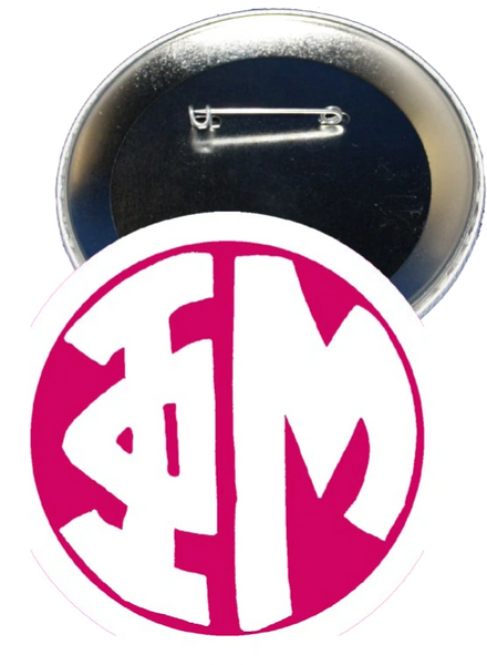 Phi Mu Monogram White Button