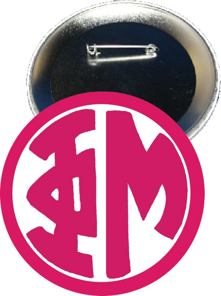 Phi Mu Monogram Pink Button