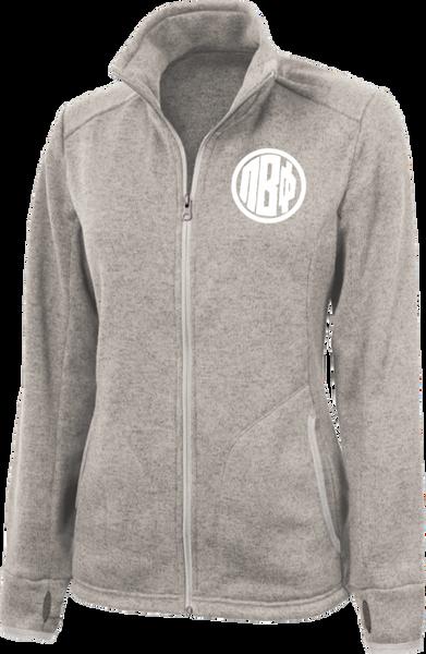 Pi Beta Phi Monogram Heathered Fleece Jacket