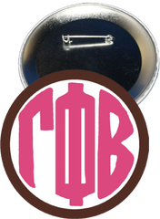Gamma Phi Beta Monogram Brown Button