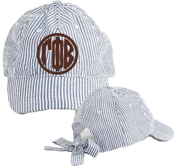 Gamma Phi Beta Seersucker Cap with Bow Tie Back