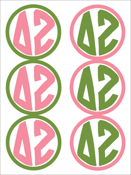 Delta Zeta Monogram Sticker Sheet