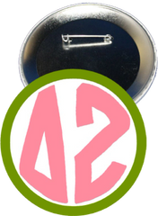 Delta Zeta Monogram Green Button