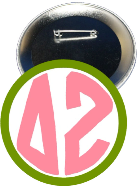 Delta Zeta Monogram Green Button