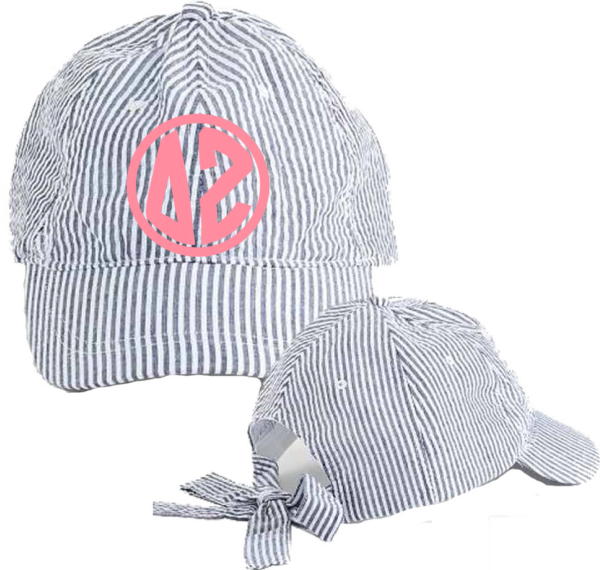 Delta Zeta Seersucker Cap with Bow Tie Back