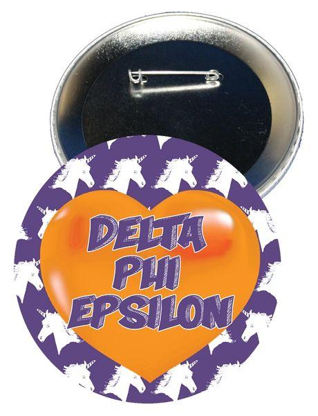 Delta Phi Epsilon Heart Button