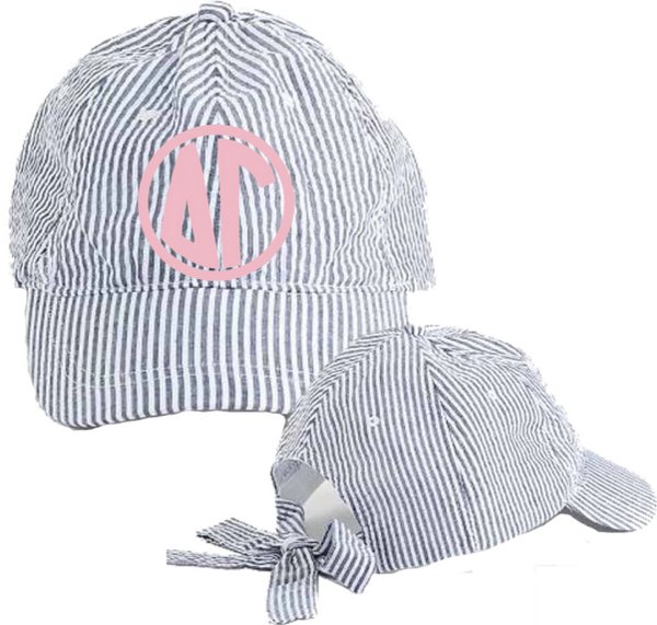 Delta Gamma Seersucker Cap with Bow Tie Back