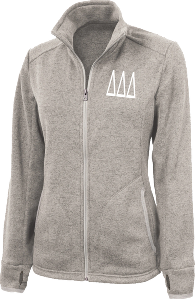 Delta Delta Delta Letters Heathered Fleece Jacket