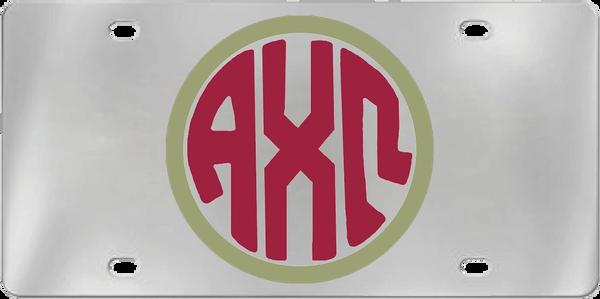Alpha Chi Omega Aluminum Monogram License Plate