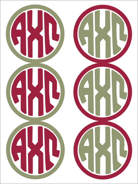 Alpha Chi Omega Monogram Sticker Sheet