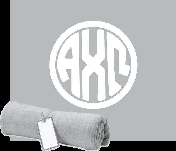 Alpha Chi Omega Monogram Sweatshirt Blanket