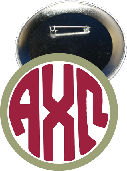 Alpha Chi Omega Monogram Green Button