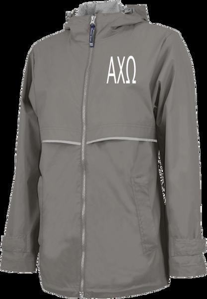 Alpha Chi Omega Letters Rain Jacket