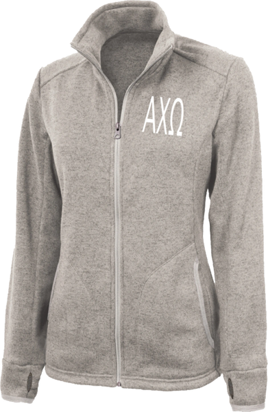 Alpha Chi Omega Letters Heathered Fleece Jacket