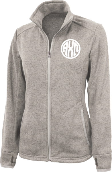 Alpha Chi Omega Monogram Heathered Fleece Jacket