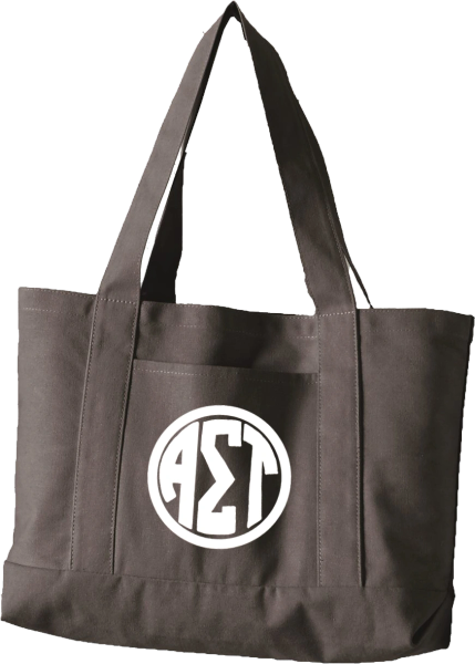 Alpha Sigma Tau Monogram Canvas Tote Bag