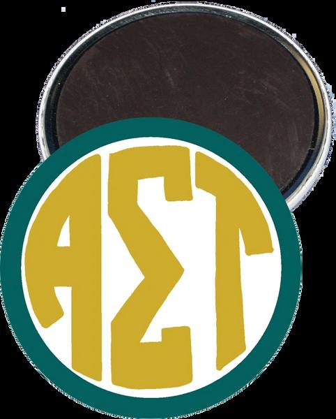Alpha Sigma Tau Monogram Green Magnet