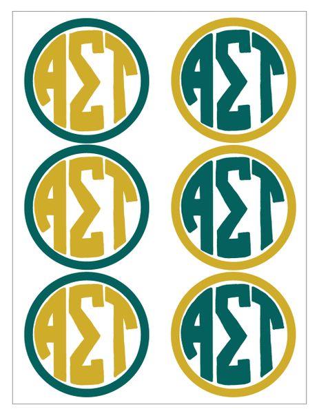 Alpha Sigma Tau Monogram Sticker Sheet