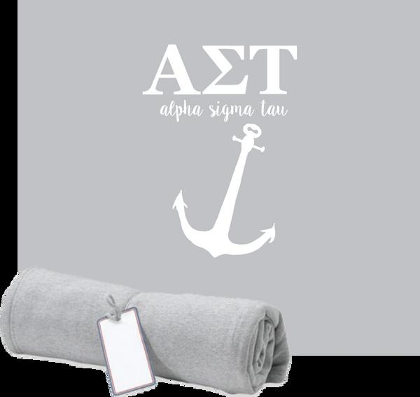 Alpha Sigma Tau Monogram Sweatshirt Blanket