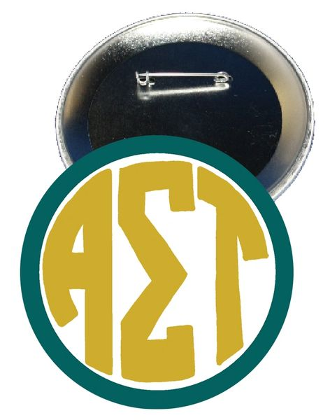 Alpha Sigma Tau Monogram Green Button