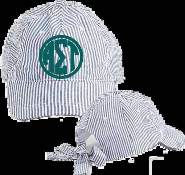 Alpha Sigma Tau Seersucker Cap with Bow Tie Back