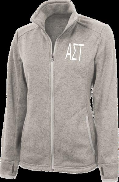 Alpha Sigma Tau Letters Heathered Fleece Jacket