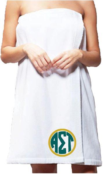 Alpha Sigma Tau Monogram Towel Wrap