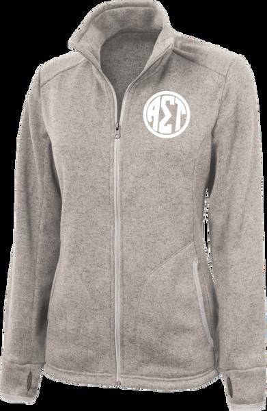 Alpha Sigma Tau Monogram Heathered Fleece Jacket