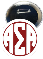 Alpha Sigma Alpha Monogram White Button