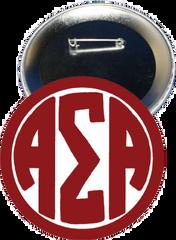Alpha Sigma Alpha Monogram Red Button