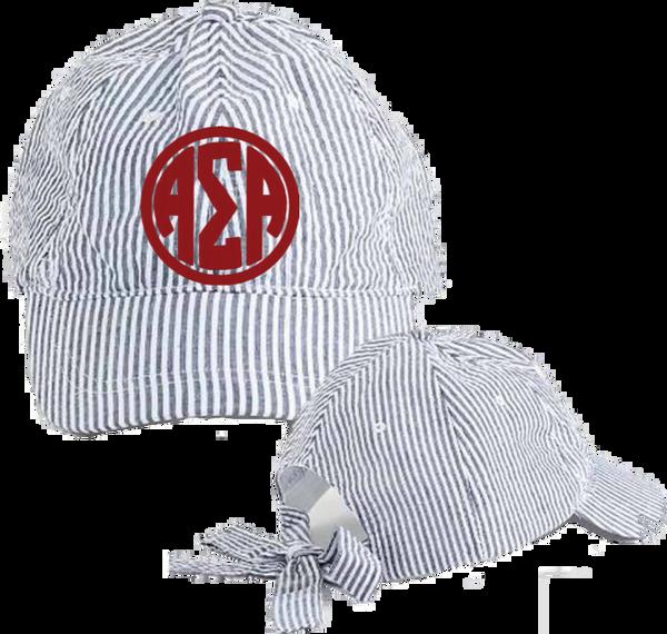 Alpha Sigma Alpha Seersucker Cap with Bow Tie Back