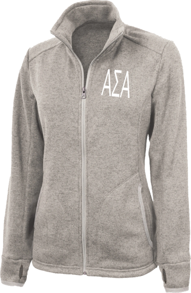 Alpha Sigma Alpha Letters Heathered Fleece Jacket