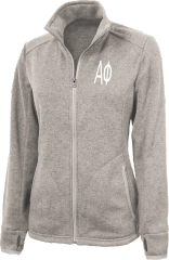 Alpha Phi Letters Heathered Fleece Jacket