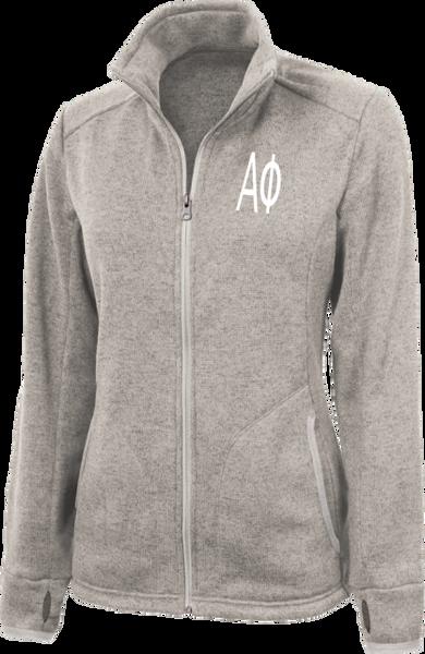Alpha Phi Letters Heathered Fleece Jacket