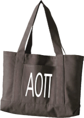 Alpha Omicron Pi Letters Canvas Tote Bag