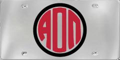 Alpha Omicron Pi Aluminum Monogram License Plate