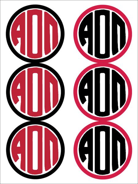 Alpha Omicron Pi Monogram Sticker Sheet