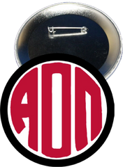 Alpha Omicron Pi Monogram Black Button