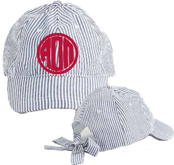 Alpha Omicron Pi Seersucker Cap with Bow Tie Back