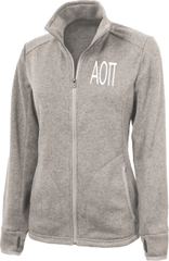 Alpha Omicron Pi Letters Heathered Fleece Jacket