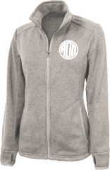 Alpha Omicron Pi Monogram Heathered Fleece Jacket